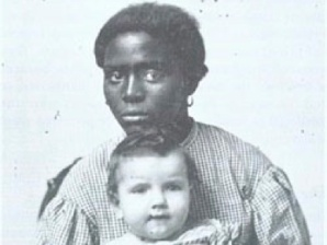 1-7 Black woman holding white child